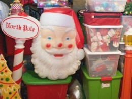 Christmas Decorations in Storage Bins