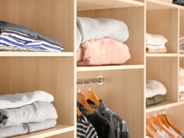 Organized Closet with folded clothes on shelves