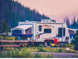 Travel Trailer parked at campground